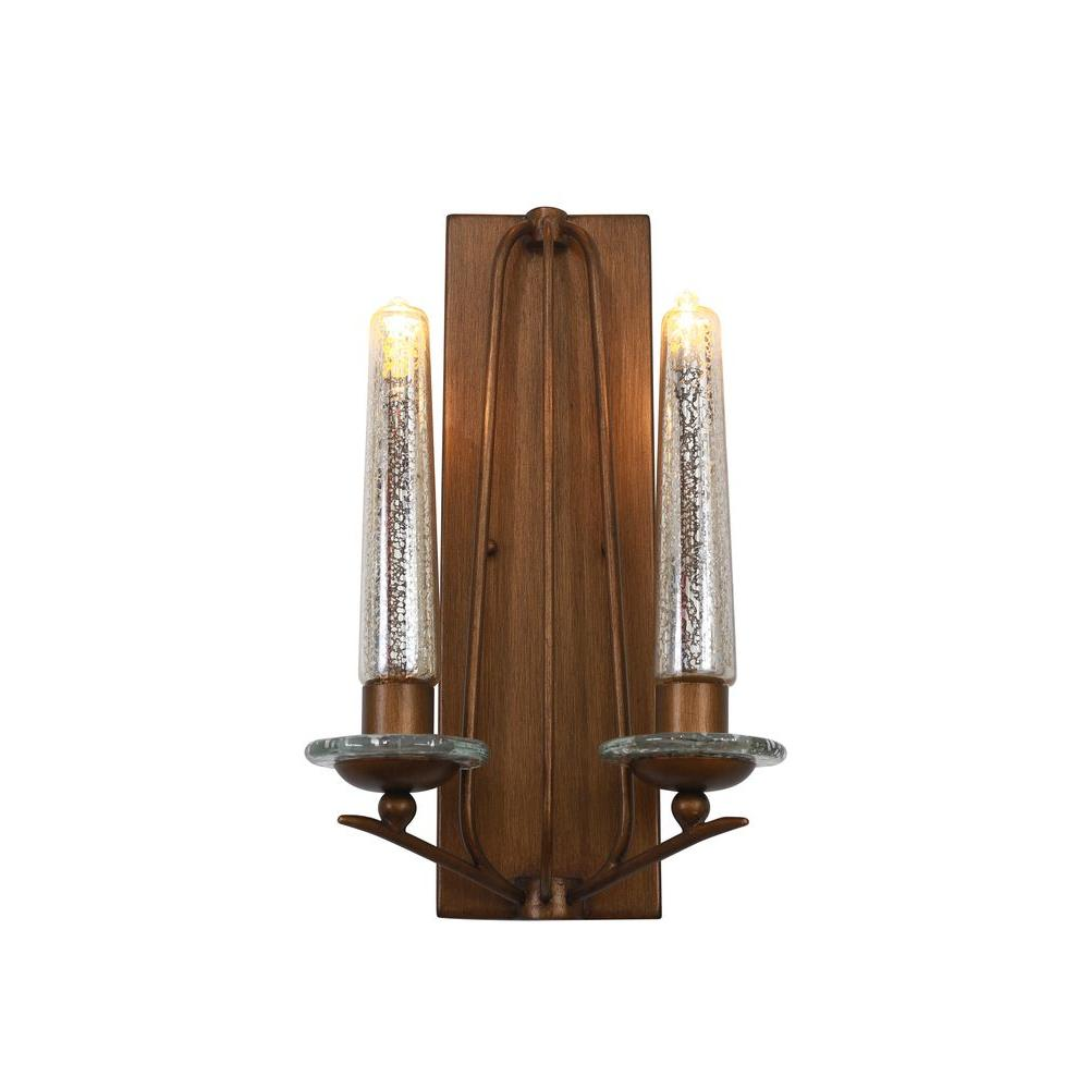 Varaluz Madison 2-Light Hammered Ore Sconce with Gold Tinted Mercury Glass