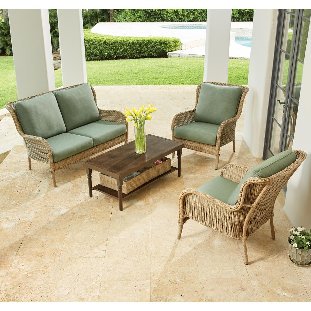 Hampton Bay Lemon Grove 4 Piece Wicker Outdoor Patio Conversation Set With  Surplus Cushions D11230 4PC   The Home Depot