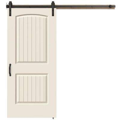 36 in. x 84 in. Santa Fe Primed Smooth Molded Composite MDF Barn Door with Rustic Hardware Kit