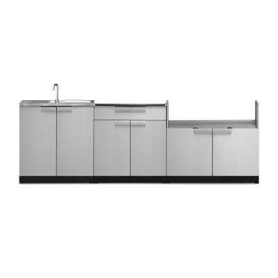 Stainless Steel 3-Piece 104 in. W x 36.5 in. H x 24 in. D Outdoor Kitchen Cabinet Set