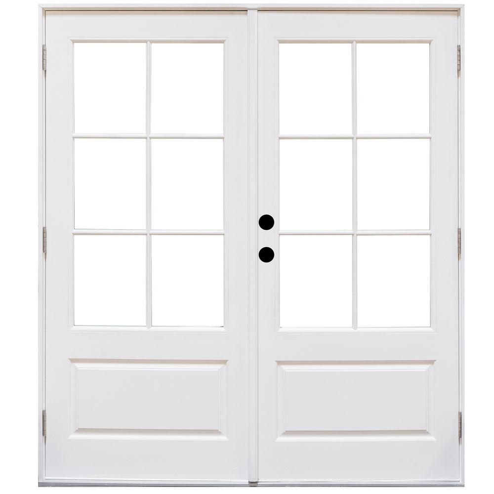 Mp doors 60 in x 80 in fiberglass smooth white right for French patio doors outswing home depot