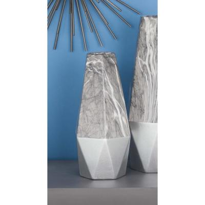 CosmoLiving by Cosmopolitan 14 in. Geometrical Marbling Black and White Ceramic Decorative Vase, Grey