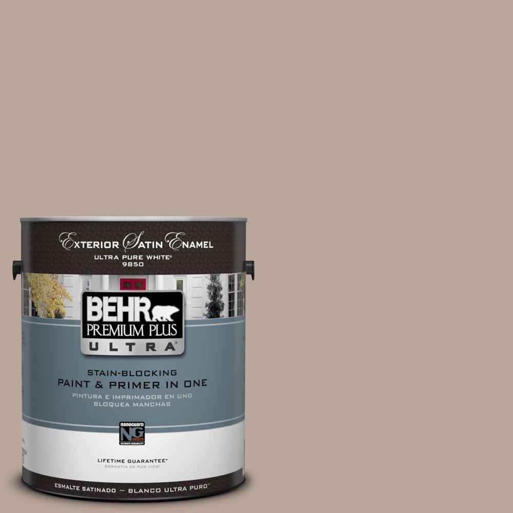 BEHR Premium Plus Ultra 1-Gal. #UL130-16 Mesa Taupe Satin Enamel Exterior Paint