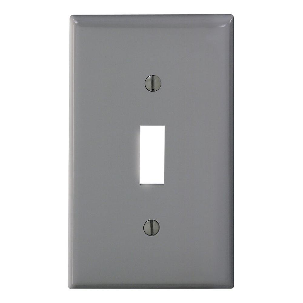 1-Gang 1-Toggle Standard Size Heavy Duty Nylon Wall Plate, Gray