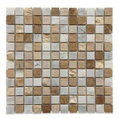 Exterior Tech Square Beige Brick Joint 12 in. x 12 in. Marble Mosaic Tile (1 sq. ft.)