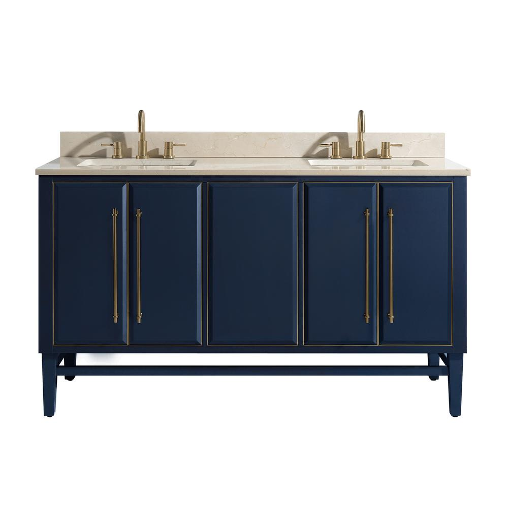 Avanity Mason 61 In W X 22 D Bath Vanity Navy Blue Gold Trim With Marble Top Crema Marfil White Basins