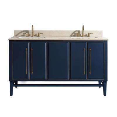Mason 61 in. W x 22 in. D Bath Vanity in Navy Blue/Gold Trim with Marble Vanity Top in Crema Marfil with White Basins