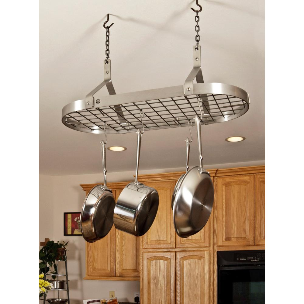 Handcrafted Contemporary Ceiling Pot Rack with 12 Hooks Stainless Steel