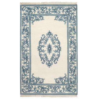 Filigree Aubusson Blue 7 ft. 6 in. x 9 ft. 6 in. Area Rug