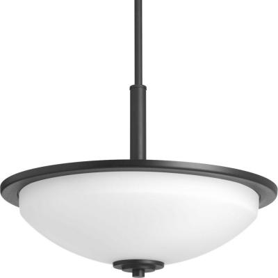 Replay 3-Light Black Pendant with Etched White Glass