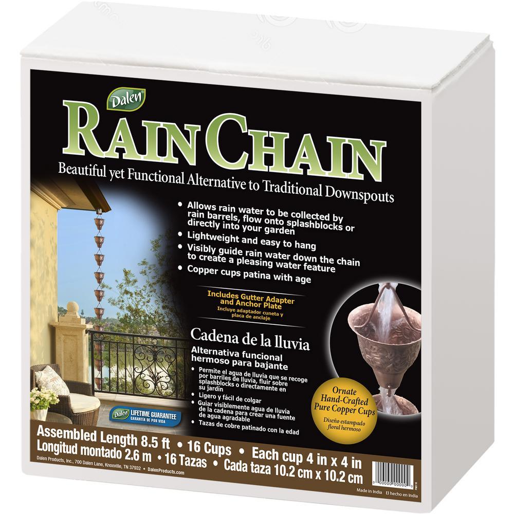 Sunflower Cup Rain Chain with Basin