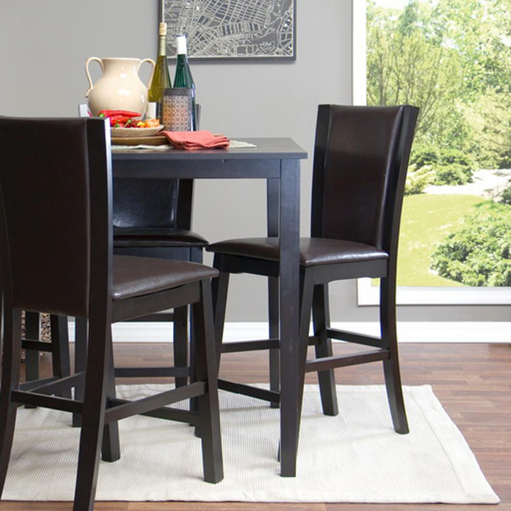 Faux Leather Brown Counter Stool Set Of 2 Dining Room Bar: Baxton Studio Wing Brown Faux Leather Upholstered 2-Piece