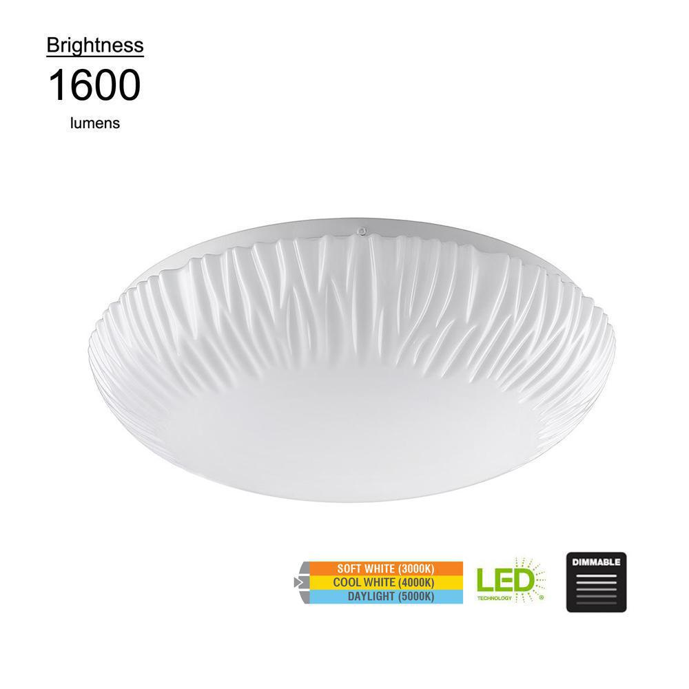 Falls Puff Style 15 in. White 100 Watt Equivalent Integrated LED