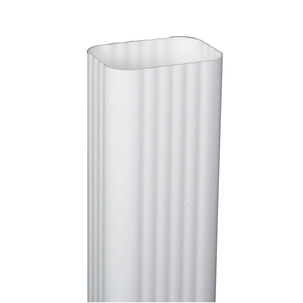 3 in. x 4 in. White Vinyl Downspout