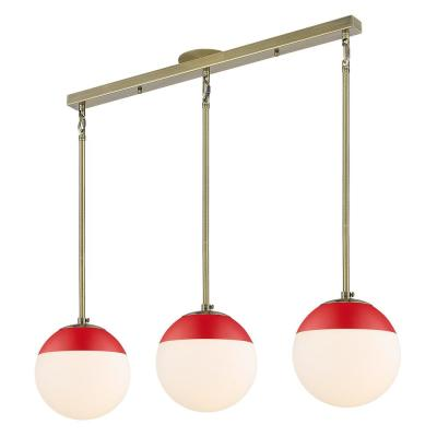 Dixon 3-Light Aged Brass Pendant with Opal Glass Shade