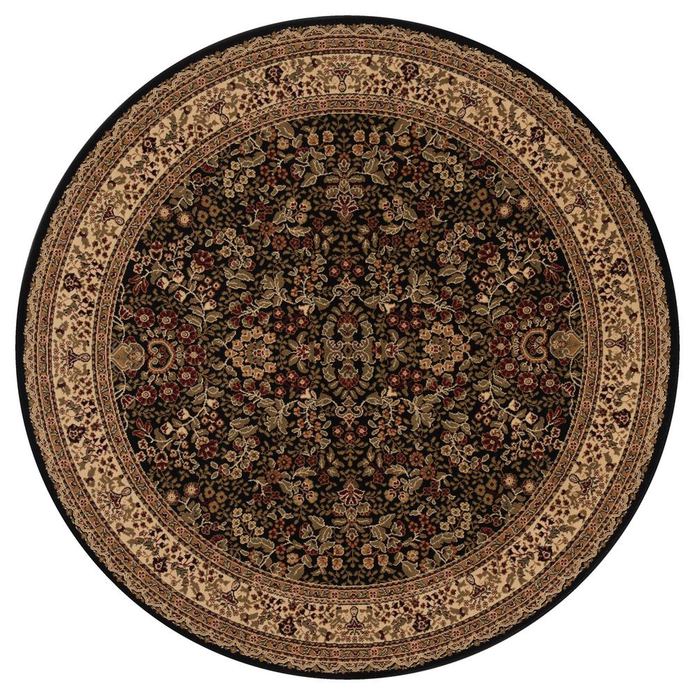 Concord Global Trading Persian Classics Sarouk Black 5 ft. 3 in. Round Area Rug