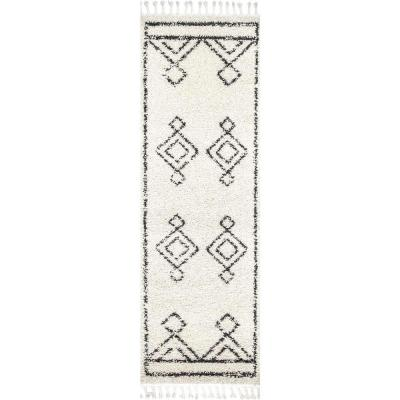 Mackie Moroccan Diamond Shag Off-White 3 ft. x 12 ft. Runner