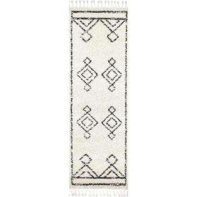 Mackie Moroccan Diamond Tassel Off White 2 ft. 8 in. x 8 ft. Runner Rug