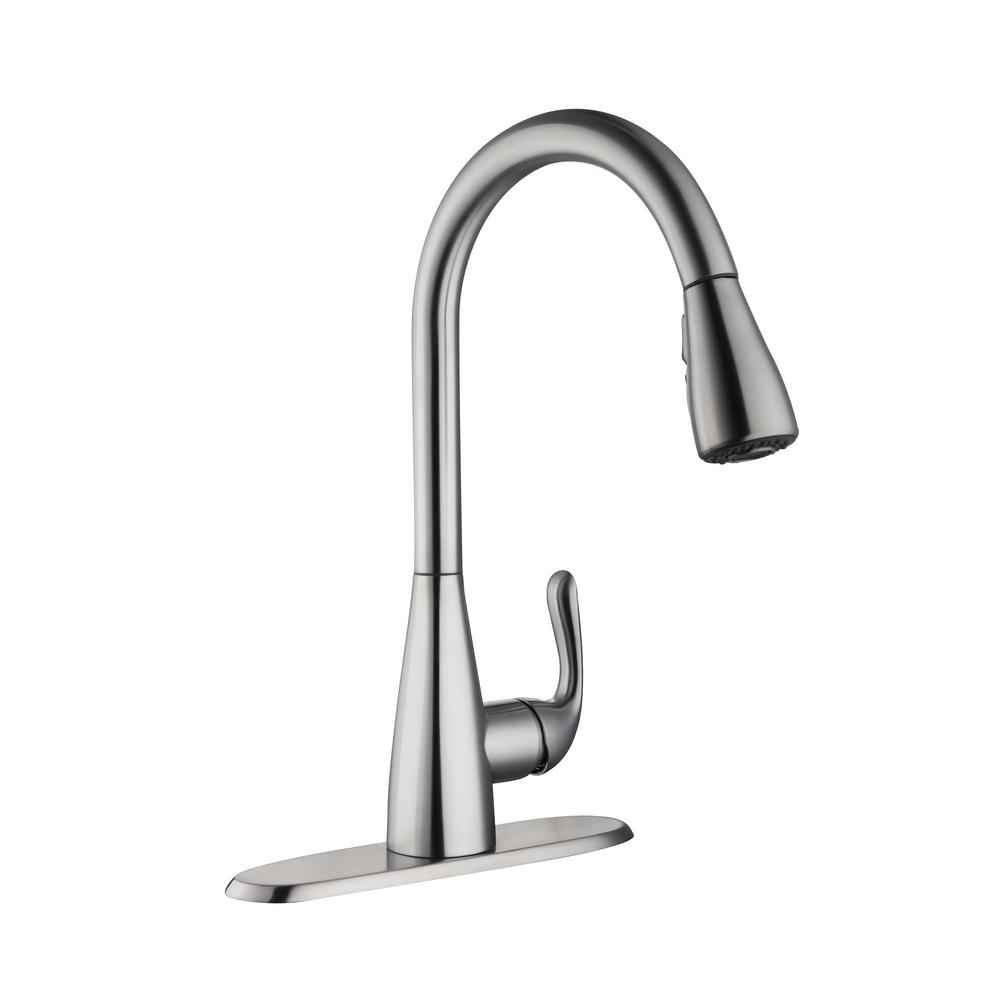 Glacier Bay Carla Single-Handle Pull-Down Sprayer Kitchen Faucet in  Stainless Steel