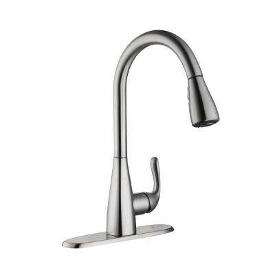 Carla Single-Handle Pull-Down Sprayer Kitchen Faucet in Stainless Steel
