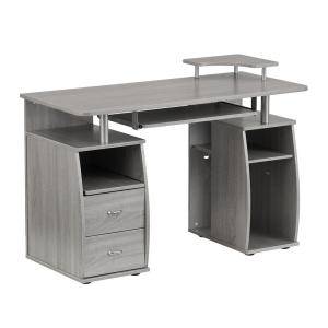Pleasing Techni Mobili Gray Frosted Glass Top Computer Desk With Home Interior And Landscaping Elinuenasavecom
