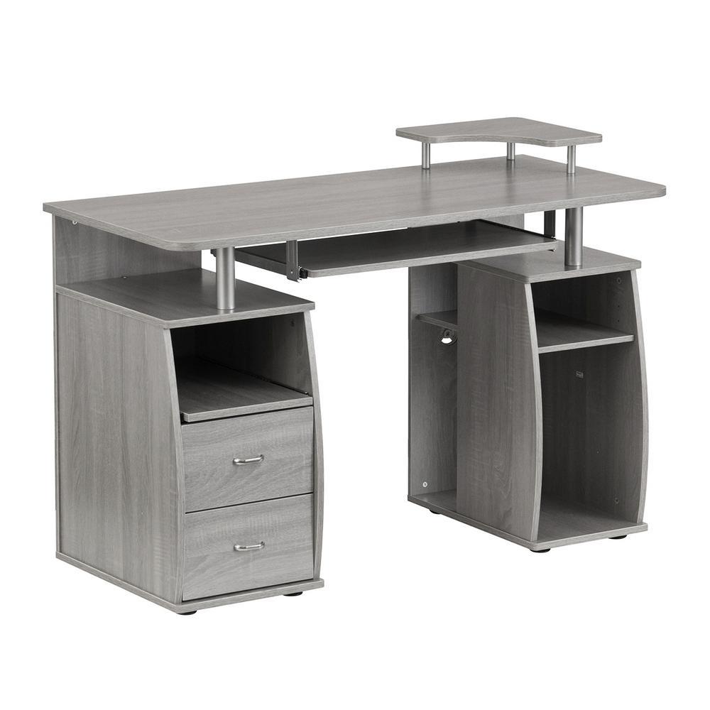 Amazing Techni Mobili Grey Complete Computer Workstation Desk With Interior Design Ideas Clesiryabchikinfo