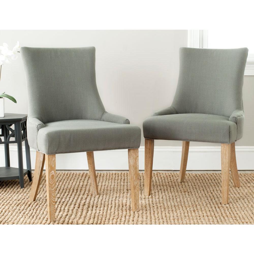 safavieh lester granite linen dining chair set of 2 mcr4709a set2 the home depot. Black Bedroom Furniture Sets. Home Design Ideas