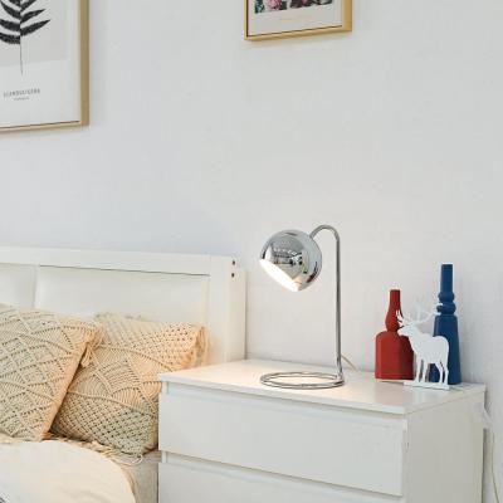 Elia 15 in. Chrome Desk Lamp with White Inner Shade