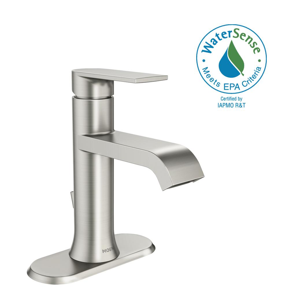 Moen Genta Single Hole Handle Bathroom Faucet In Spot Resist Brushed Nickel