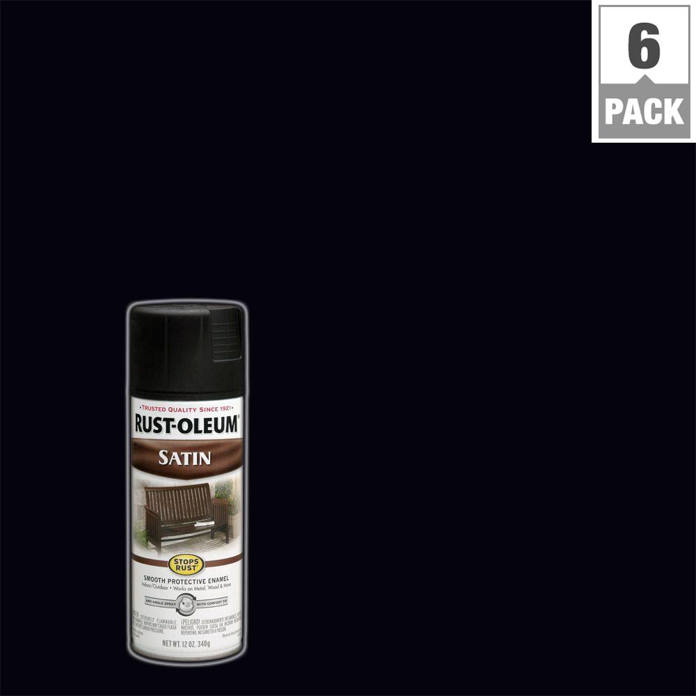12 oz. Protective Enamel Satin Black Spray Paint (6-Pack)