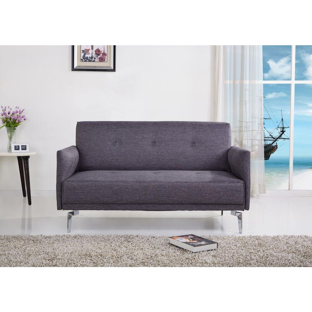 Grey Linen Loveseat by