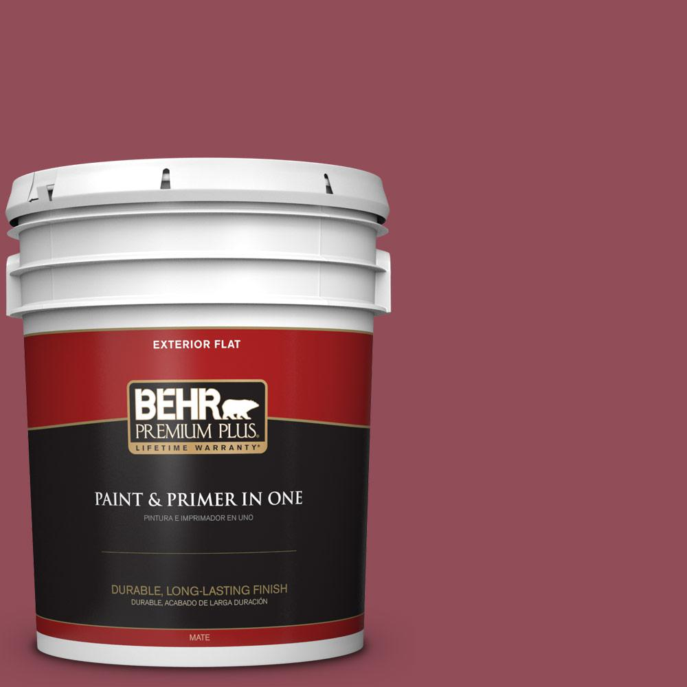 BEHR Premium Plus 5 gal. #MQ1-5 Rialto Flat Exterior Paint and Primer in One, Reds/Pinks
