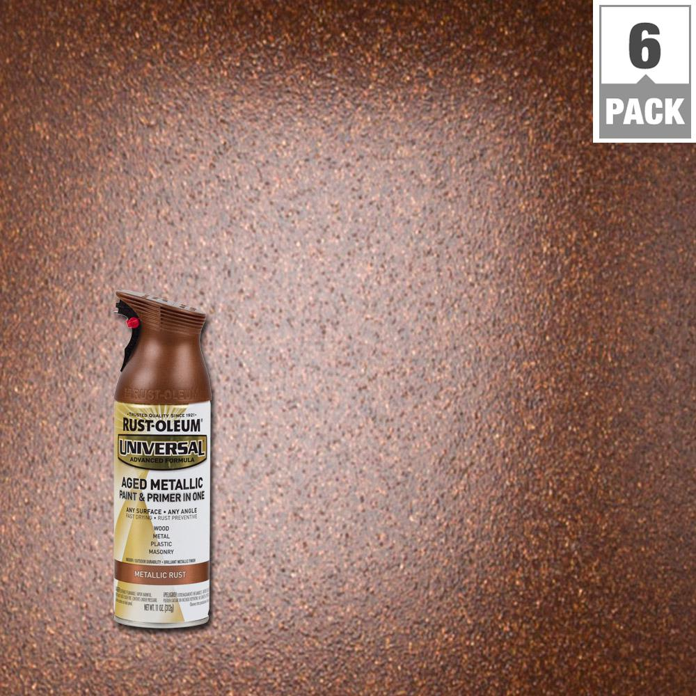 Rust Oleum Universal 11 Oz All Surface Aged Metallic Rust Spray Paint And Primer In One 6 Pack