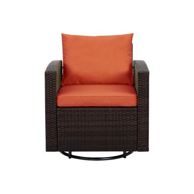 Dark Brown Swivel Wicker Outdoor Lounge Chair with Orange Solid Cushions