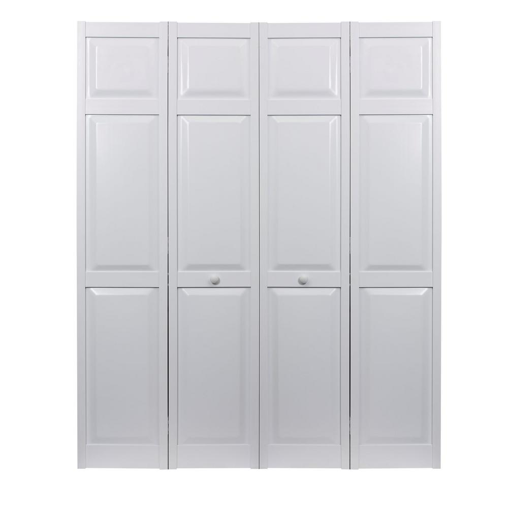 pinecroft 64 in x 80 in 6 panel raised panel white hollow core pvc vinyl interior bi fold door. Black Bedroom Furniture Sets. Home Design Ideas