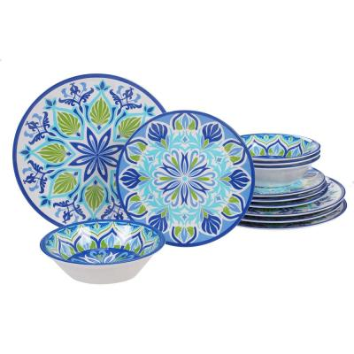 Morocco 12-Piece Casual Multicolor Melamine Outdoor Dinnerware Set (Service for 4)