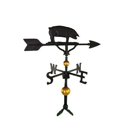 32 in. Deluxe Black Pig Weathervane