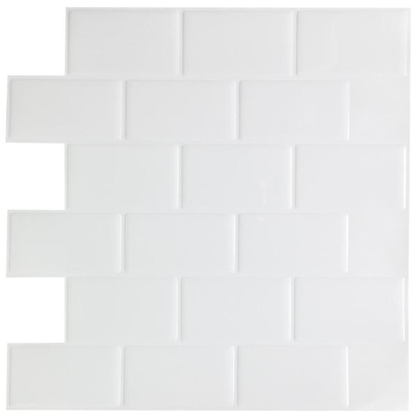 12 in. x 12 in. Peel and Stick Wall Tile Vinyl Backsplash Tile in White (10 Tiles)