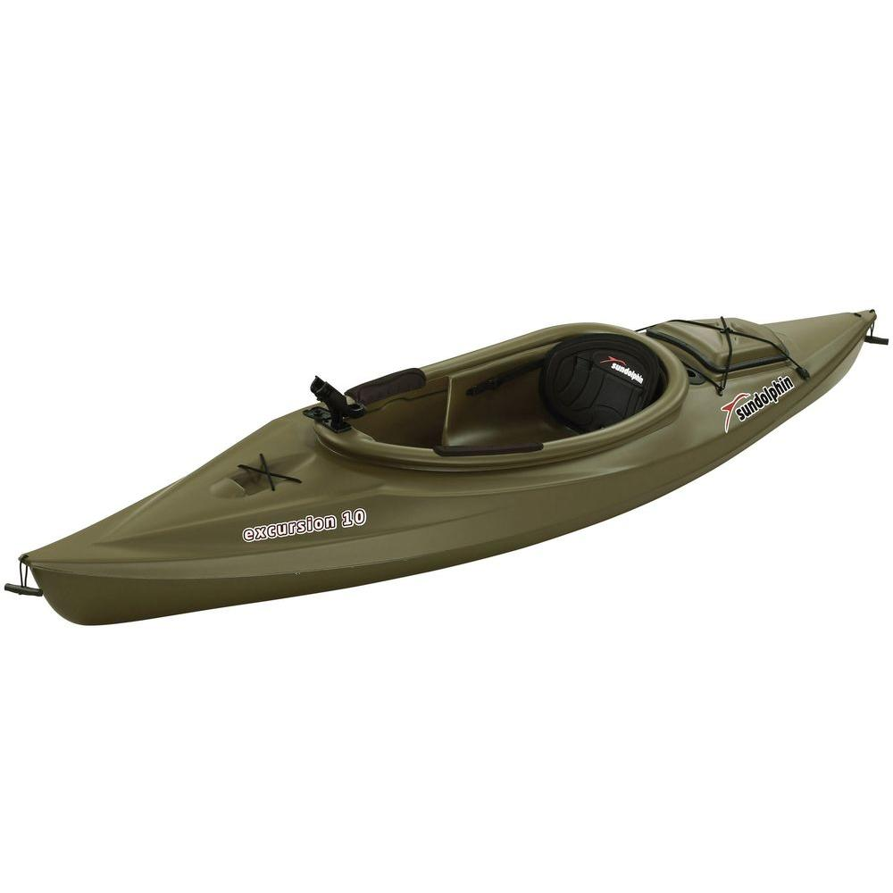 Sun Dolphin Excursion 10 ft. Sit-In Kayak in Olive