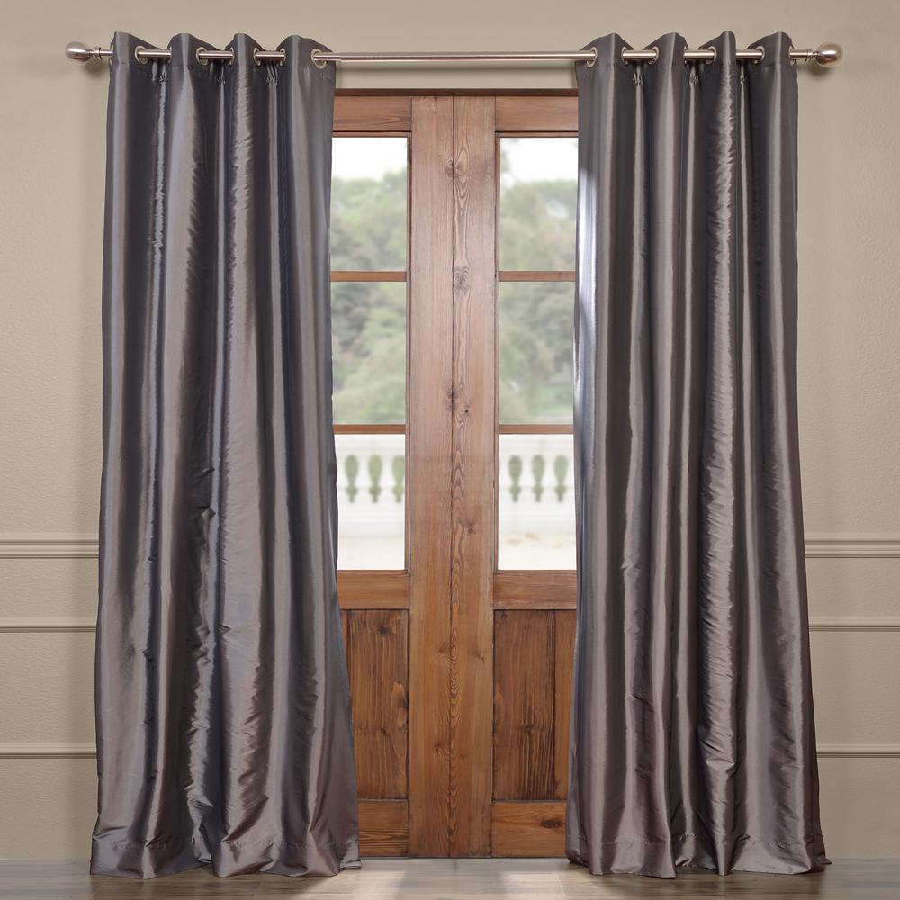 Graphite Gray Grommet Blackout Faux Silk Taffeta Curtain - 50 in. W x 84 in. L