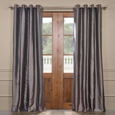Graphite Gray Grommet Blackout Faux Silk Taffeta Curtain - 50 in. W x 96 in. L