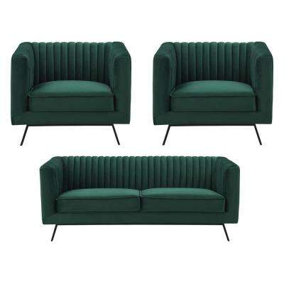 Vandam 3-Piece Hunter Green Velvet 2-Seat Loveseat and 2 Armchairs