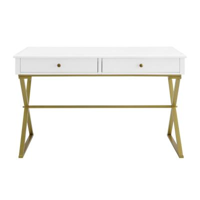 48 in. Rectangular White/Gold 2 Drawer Writing Desk with Built-In Storage