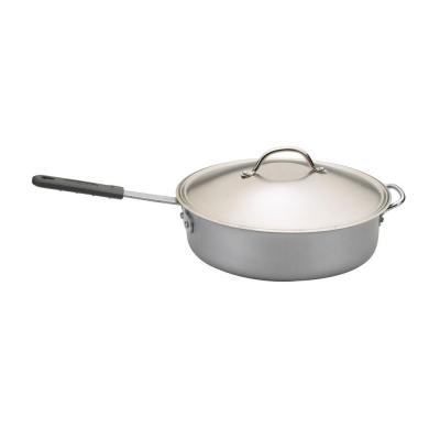 Restaurant 6 qt. Aluminum Nonstick Saute Pan in Silver with Glass Lid