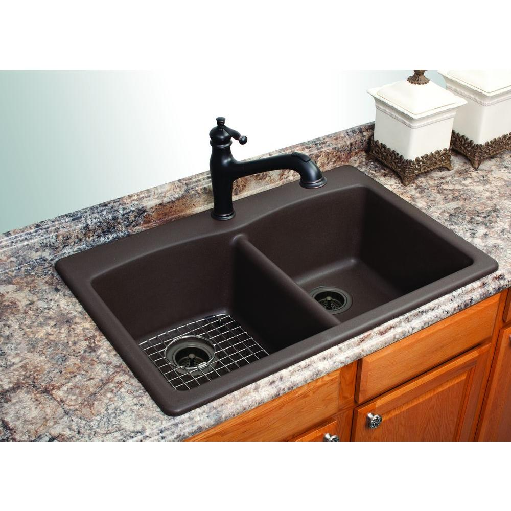 Franke Dual Mount Composite Granite 33 in. 1-Hole Double Bowl Kitchen Sink  in Mocha