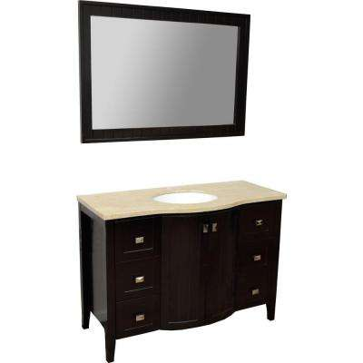 London 48 in. Vanity in Espresso with Marble Vanity Top in Beige and Mirror