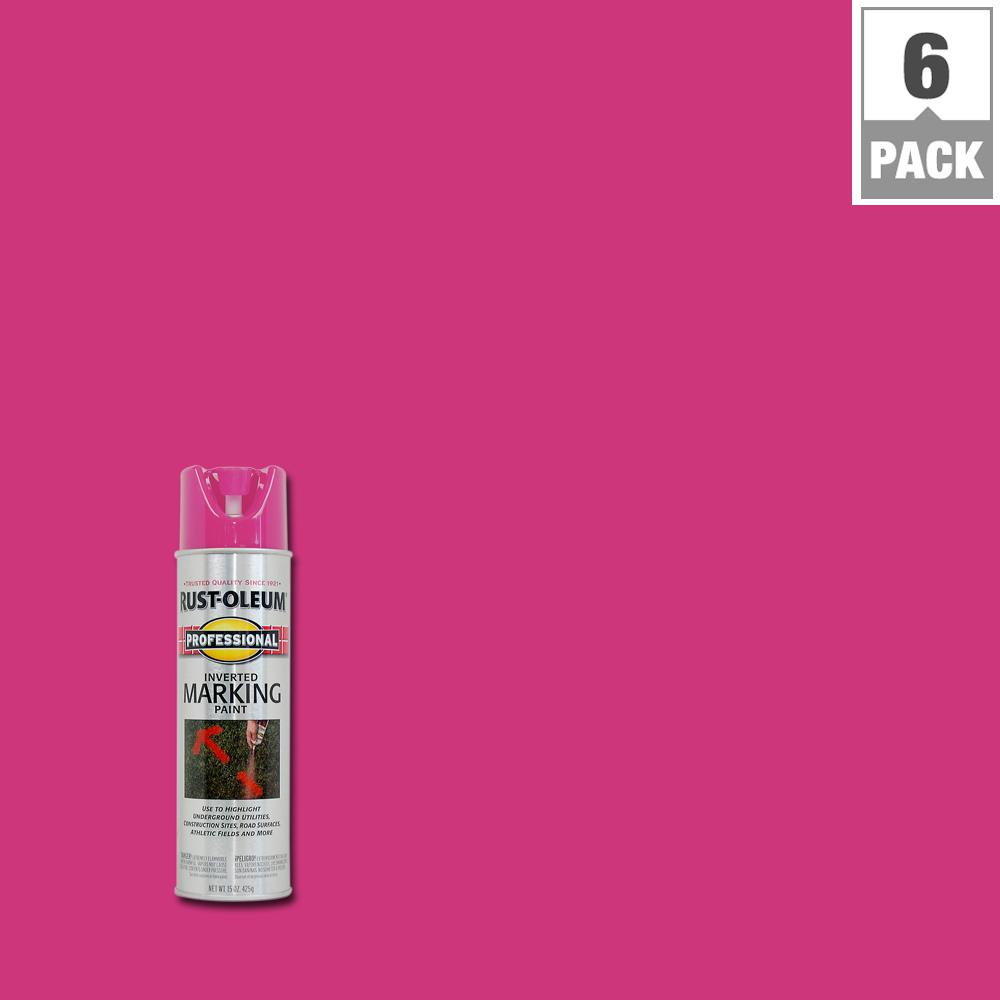 Fluorescent Pink 2x Distance Inverted Marking Spray Paint 6 Pack