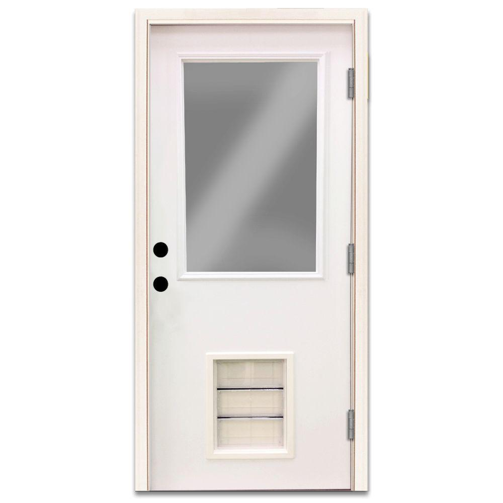 Steves Sons Premium Half Lite Primed White Steel Entry Door 36 In Left Hand Outswing With Extra Large Pet