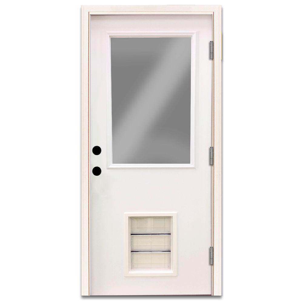 Steves & Sons Premium Half Lite Primed White Steel Back Door 36 in. Left Hand Outswing with Extra Large Pet Door