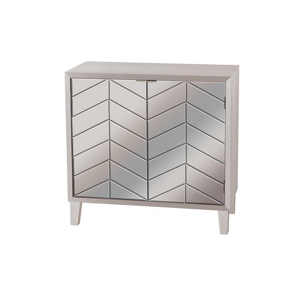 32.5 in. 2-Doors Silver Wood Cabinet